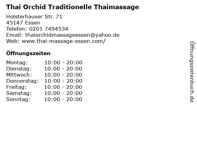 Thai Orchid Traditionelle Thaimassage in Essen: Adresse und Öffnungszeiten