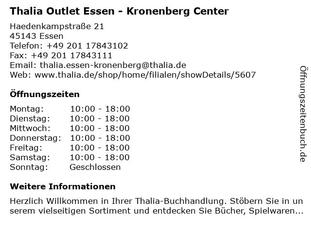 Thalia Outlet Essen - Kronenberg Center in Essen: Adresse und Öffnungszeiten