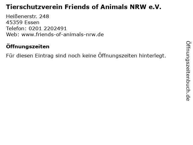 Tierschutzverein Friends of Animals NRW e.V. in Essen: Adresse und Öffnungszeiten