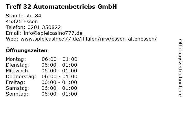 Treff 32 Automatenbetriebs GmbH in Essen: Adresse und Öffnungszeiten