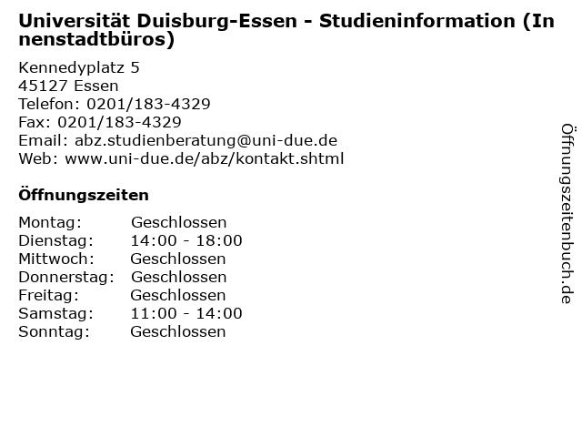 Universität Duisburg-Essen - Studieninformation (Innenstadtbüros) in Essen: Adresse und Öffnungszeiten
