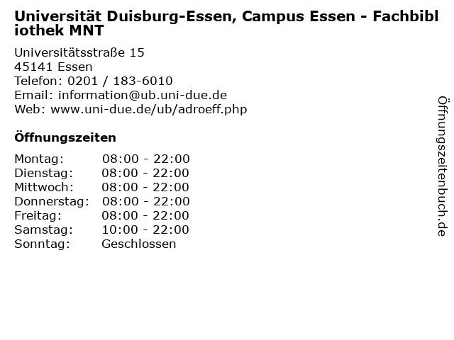 Universität Duisburg-Essen, Campus Essen - Fachbibliothek MNT in Essen: Adresse und Öffnungszeiten
