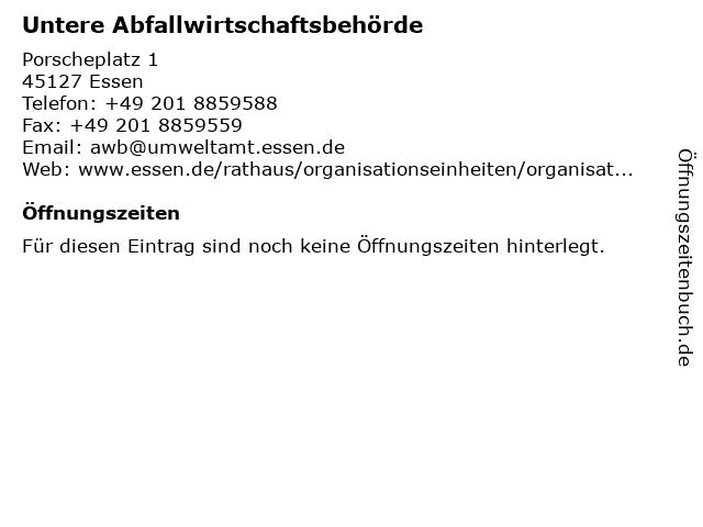 Untere Abfallwirtschaftsbehörde in Essen: Adresse und Öffnungszeiten