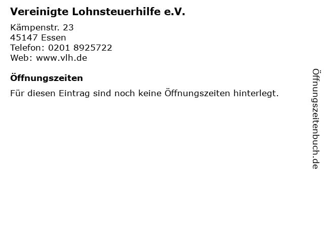 Vereinigte Lohnsteuerhilfe e.V. in Essen: Adresse und Öffnungszeiten