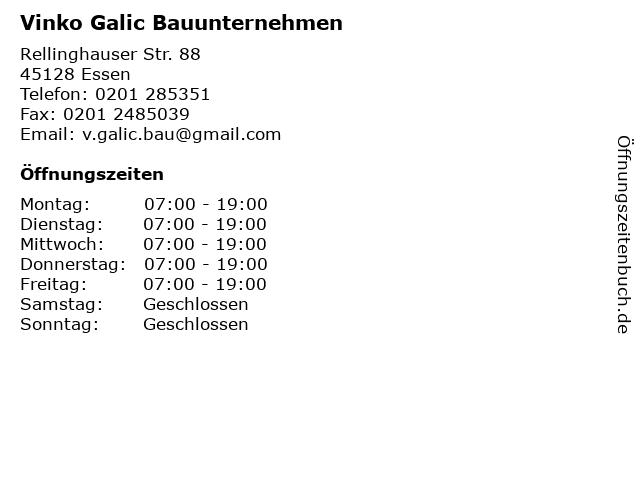 Vinko Galic Bauunternehmen in Essen: Adresse und Öffnungszeiten