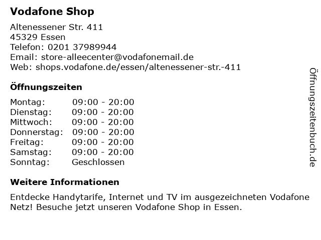 Vodafone Shop in Essen: Adresse und Öffnungszeiten
