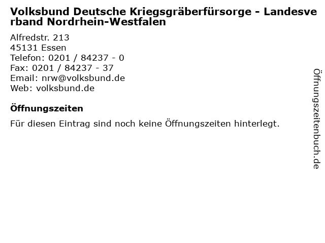 Volksbund Deutsche Kriegsgräberfürsorge - Landesverband Nordrhein-Westfalen in Essen: Adresse und Öffnungszeiten