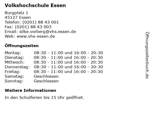 Volkshochschule Essen in Essen: Adresse und Öffnungszeiten