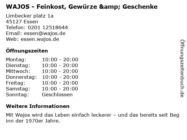 WAJOS - Feinkost, Gewürze & Geschenke in Essen: Adresse und Öffnungszeiten