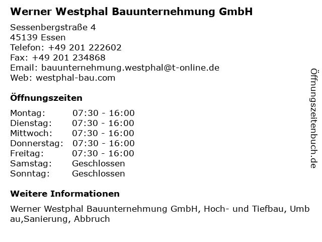 Werner Westphal Bauunternehmung GmbH in Essen: Adresse und Öffnungszeiten
