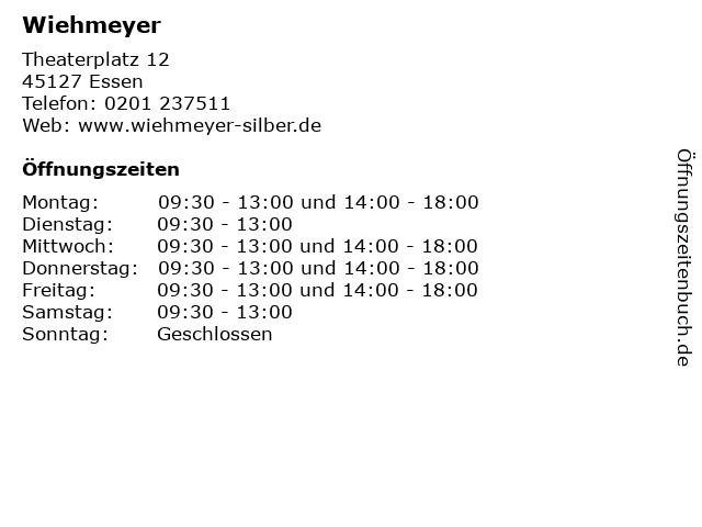 Wiehmeyer in Essen: Adresse und Öffnungszeiten