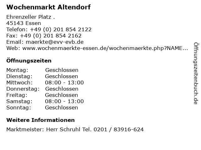 Wochenmarkt Altendorf in Essen: Adresse und Öffnungszeiten