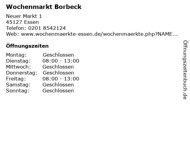Wochenmarkt Borbeck in Essen: Adresse und Öffnungszeiten
