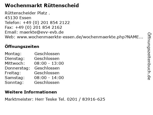 Wochenmarkt Rüttenscheid in Essen: Adresse und Öffnungszeiten