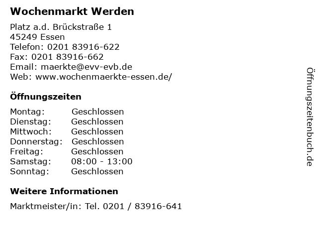 Wochenmarkt Werden in Essen: Adresse und Öffnungszeiten