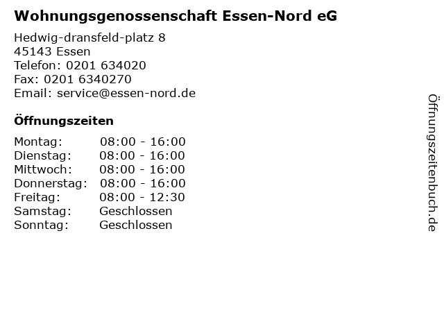Wohnungsgenossenschaft Essen-Nord eG. Wohnungsunternehmen in Essen: Adresse und Öffnungszeiten