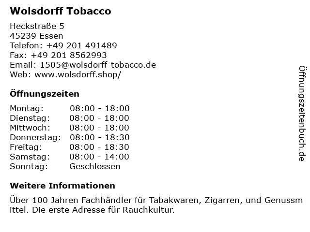 Wolsdorff Tobacco in Essen: Adresse und Öffnungszeiten