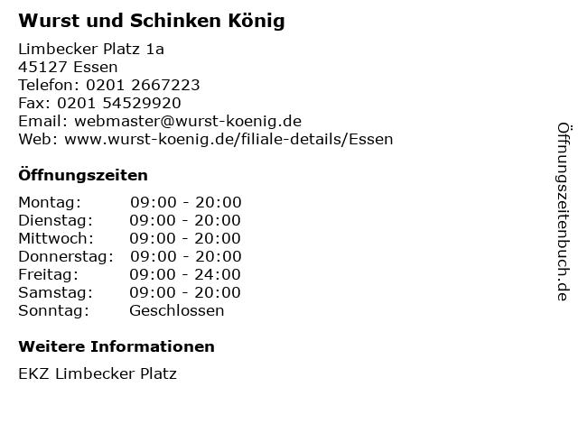 Wurst und Schinken König in Essen: Adresse und Öffnungszeiten