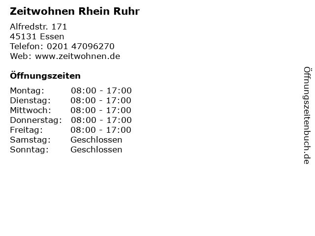 Zeitwohnen Rhein Ruhr in Essen: Adresse und Öffnungszeiten