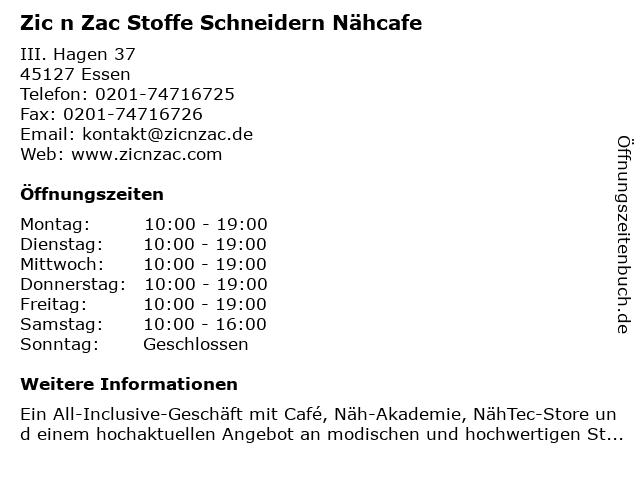 Zic n Zac Stoffe Schneidern Nähcafe in Essen: Adresse und Öffnungszeiten