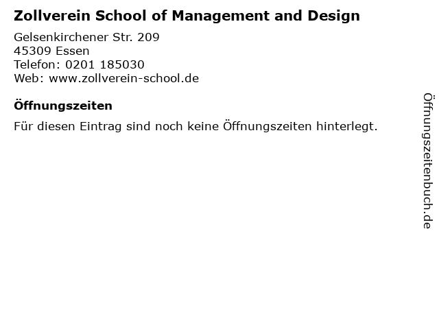 Zollverein School of Management and Design in Essen: Adresse und Öffnungszeiten