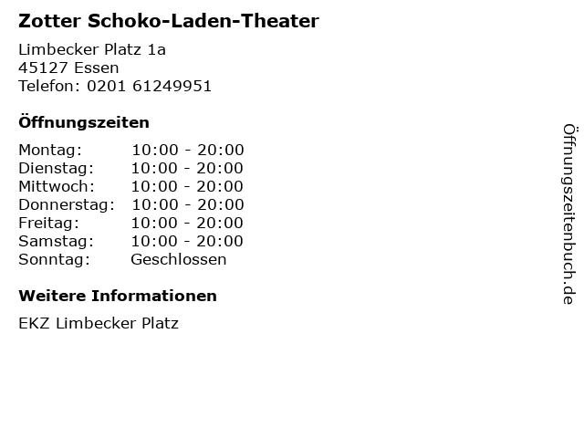 Zotter Schoko-Laden-Theater in Essen: Adresse und Öffnungszeiten
