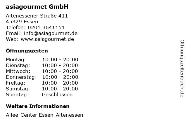 asiagourmet GmbH in Essen: Adresse und Öffnungszeiten