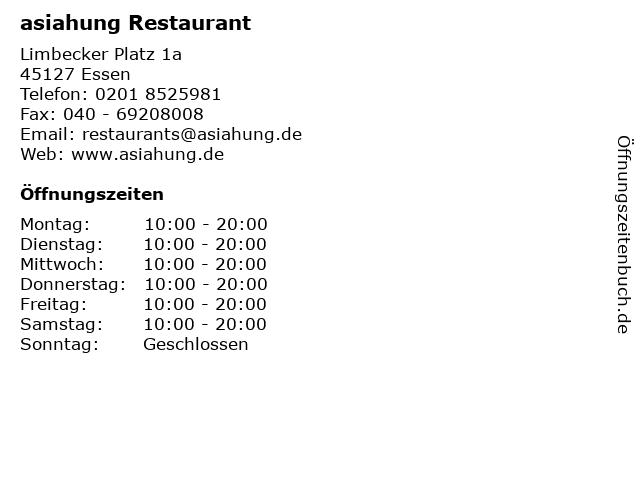 asiahung Restaurant in Essen: Adresse und Öffnungszeiten