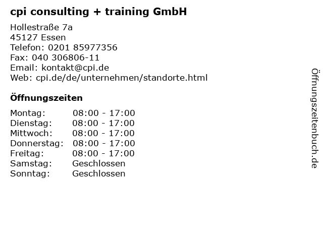 cpi consulting + training GmbH in Essen: Adresse und Öffnungszeiten