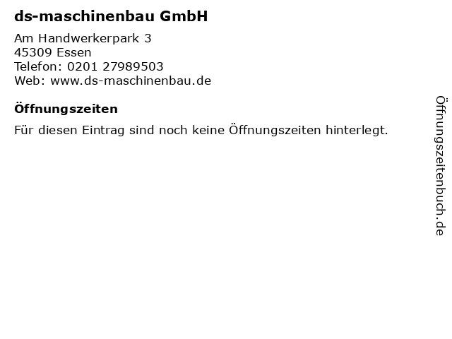 ds-maschinenbau GmbH in Essen: Adresse und Öffnungszeiten