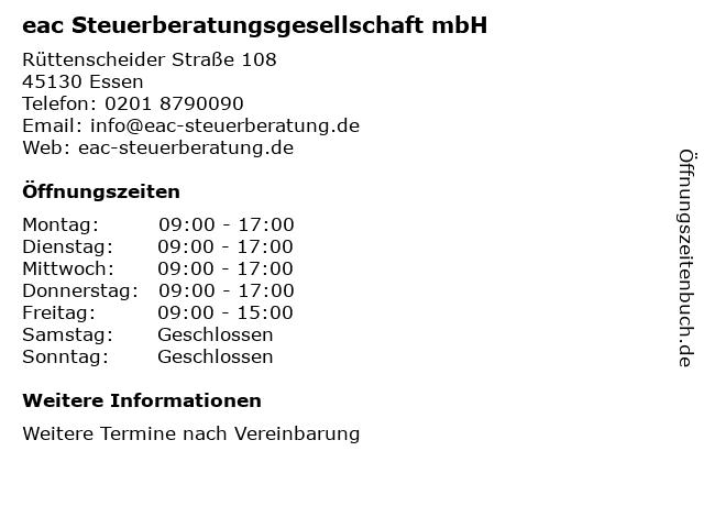 eac Steuerberatungsgesellschaft mbH in Essen: Adresse und Öffnungszeiten