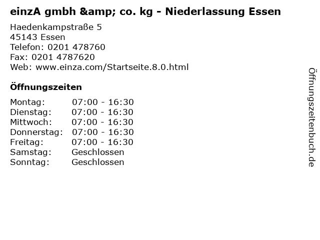 einzA gmbh & co. kg - Niederlassung Essen in Essen: Adresse und Öffnungszeiten