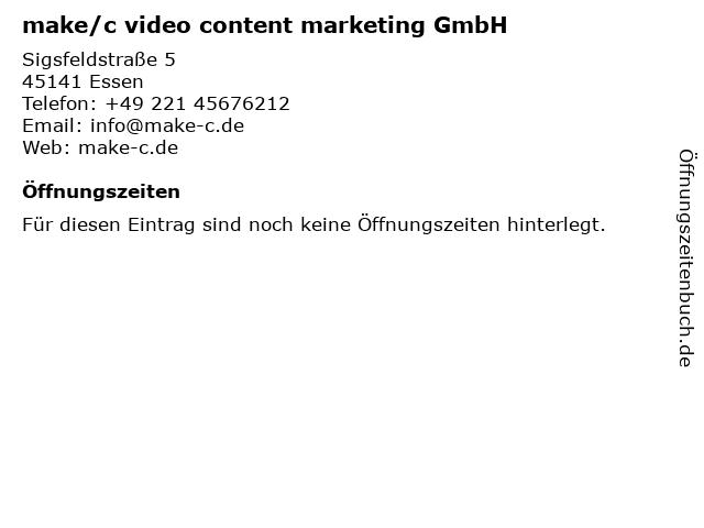 make/c video content marketing GmbH in Essen: Adresse und Öffnungszeiten