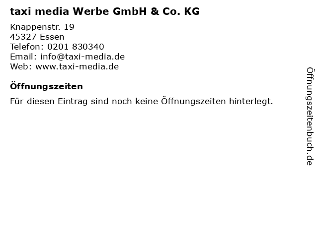taxi media Werbe GmbH & Co. KG in Essen: Adresse und Öffnungszeiten