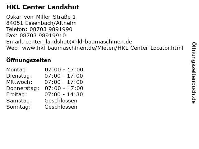 HKL Center Landshut in Essenbach/Altheim: Adresse und Öffnungszeiten