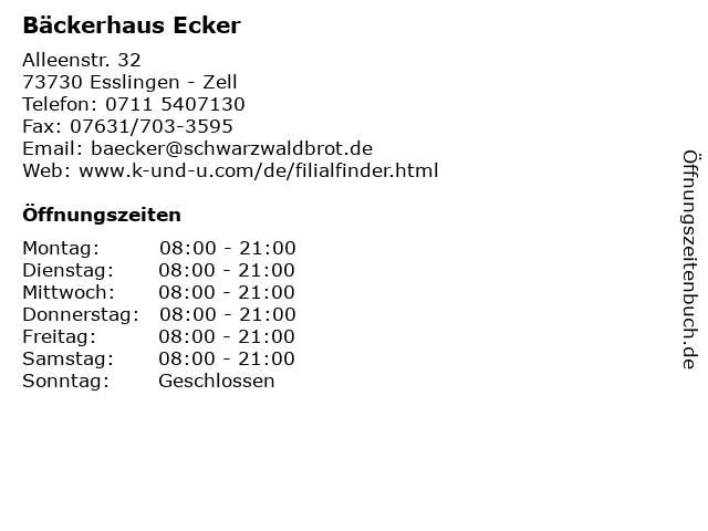 Bäckerhaus Ecker in Esslingen - Zell: Adresse und Öffnungszeiten