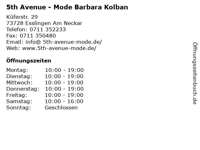 5th Avenue - Mode Barbara Kolban in Esslingen Am Neckar: Adresse und Öffnungszeiten