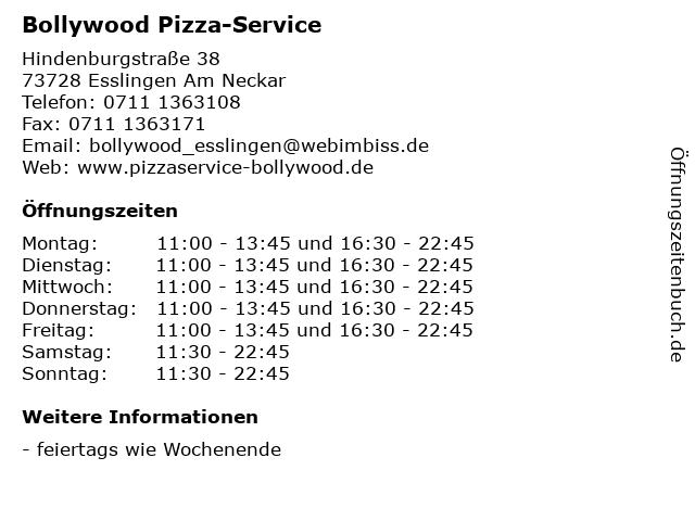 Bollywood Pizza-Service in Esslingen Am Neckar: Adresse und Öffnungszeiten