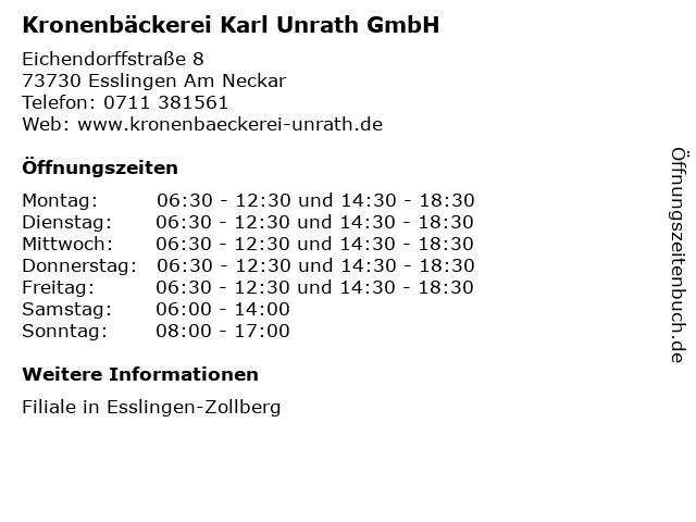 Kronenbäckerei Karl Unrath GmbH in Esslingen Am Neckar: Adresse und Öffnungszeiten