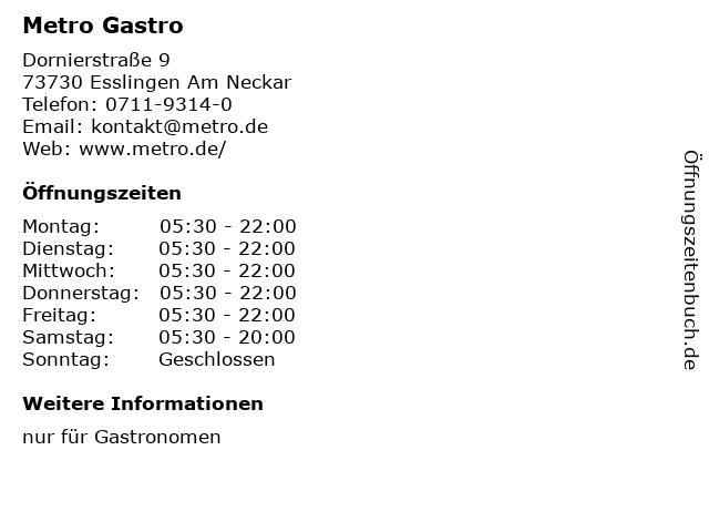 METRO Restaurant Esslingen in Esslingen Am Neckar: Adresse und Öffnungszeiten