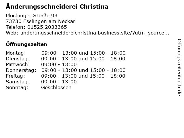 Änderungsschneiderei Christina in Esslingen am Neckar: Adresse und Öffnungszeiten