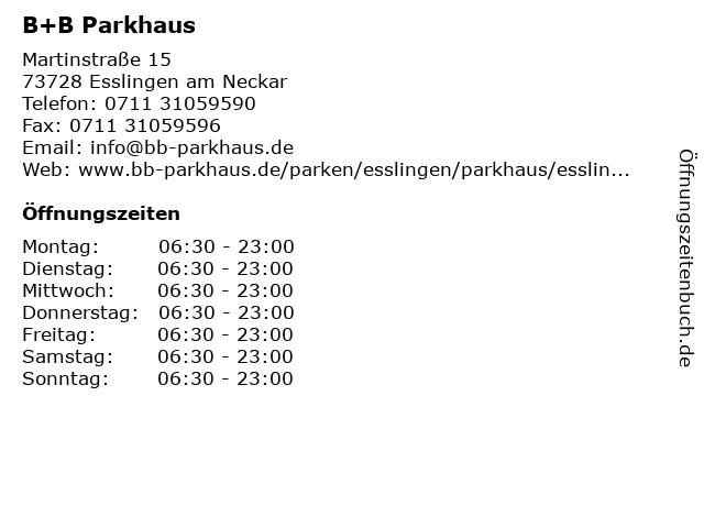 B+B Parkhaus in Esslingen am Neckar: Adresse und Öffnungszeiten