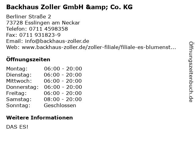 Backhaus Zoller GmbH & Co. KG in Esslingen am Neckar: Adresse und Öffnungszeiten