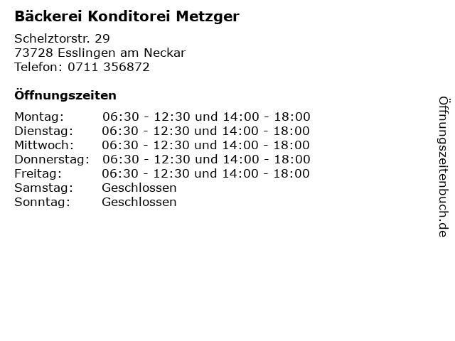 Bäckerei Konditorei Metzger in Esslingen am Neckar: Adresse und Öffnungszeiten