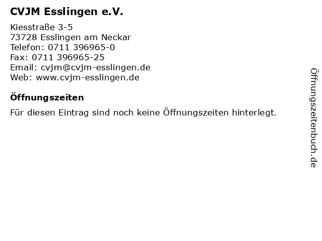 CVJM Esslingen e.V. in Esslingen am Neckar: Adresse und Öffnungszeiten