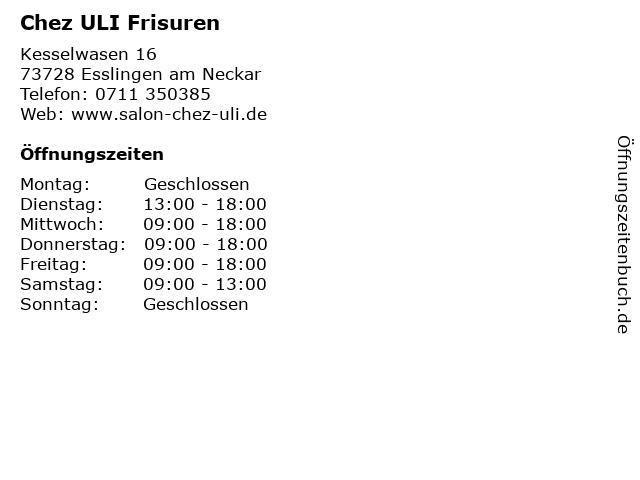 Chez ULI Frisuren in Esslingen am Neckar: Adresse und Öffnungszeiten