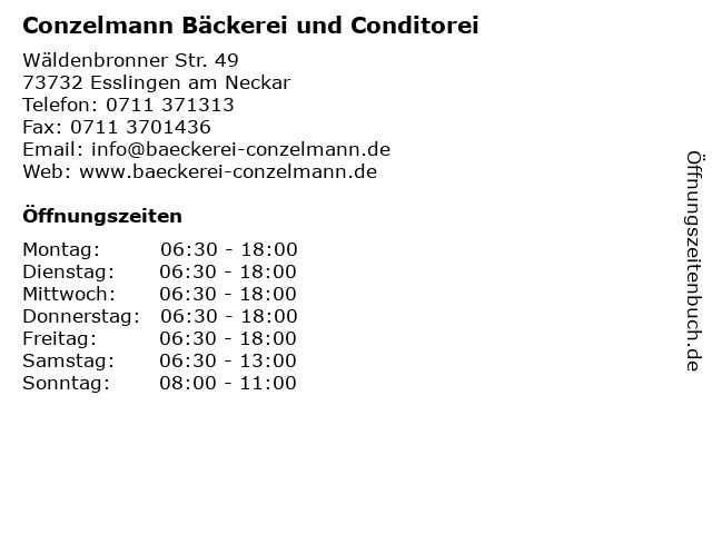 Conzelmann Bäckerei und Conditorei in Esslingen am Neckar: Adresse und Öffnungszeiten