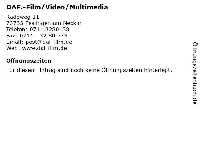 DAF.-Film/Video/Multimedia in Esslingen am Neckar: Adresse und Öffnungszeiten