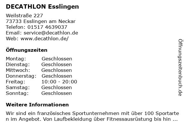 DECATHLON Store Esslingen in Esslingen: Adresse und Öffnungszeiten