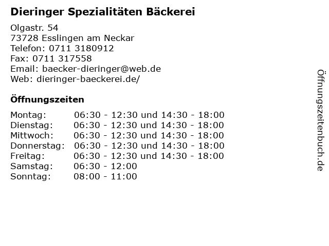 Dieringer Spezialitäten Bäckerei in Esslingen am Neckar: Adresse und Öffnungszeiten